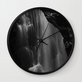 Black and white waterfall long exposure Wall Clock
