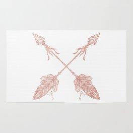 Tribal Arrows Rose Gold on White Rug