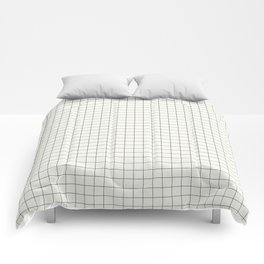 Black Grid on White Comforters