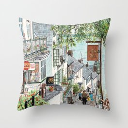 Clovelly, Devon. Throw Pillow