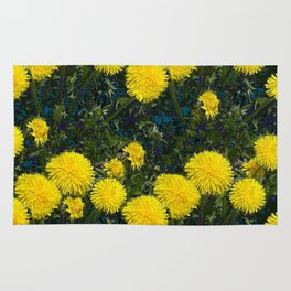 LOVE FIRST SPRING YELLOW DANDELIONS Rug