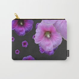 ASYMMETRICAL  PINK-PURPLE  HOLLYHOCKS ON DARK CHARCOAL GREY ART Carry-All Pouch