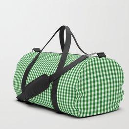 Mini Christmas Green Gingham Check on Snow White Duffle Bag