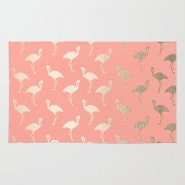 Gold Flamingo Pattern Coral Pink Rug