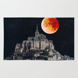 Blood Moon Over Mont-Saint-Michel Rug