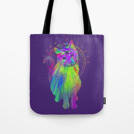 Psychedelic Psychic Cat Tote Bag