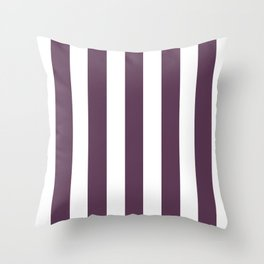 Dark byzantium purple - solid color - white vertical lines pattern Throw Pillow