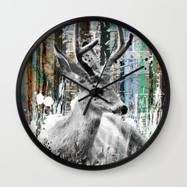 Deer in the Industrial Woods Wall Clock