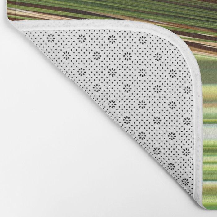 Green Strips Abstract Bath Mat