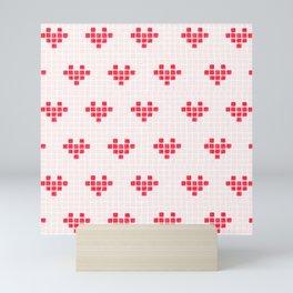 Watercolour Pixel Hearts in Red Mini Art Print