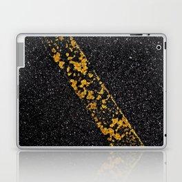 Old Yellow painted line on asphalt road Laptop & iPad Skin