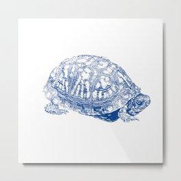 box turtle drawing, blue Metal Print