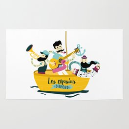 brassens musician music guitare boat sea friends trumpet accordion notes ocean french fun Rug