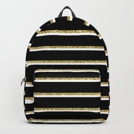 Black Gold White Stripe Pattern 2 Backpack