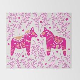 Swedish Dala Horses – Pink Palette Throw Blanket