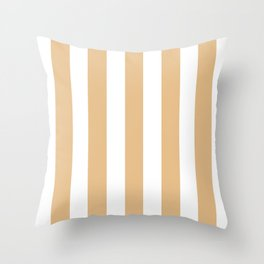 Gold (Crayola) pink - solid color - white vertical lines pattern Throw Pillow