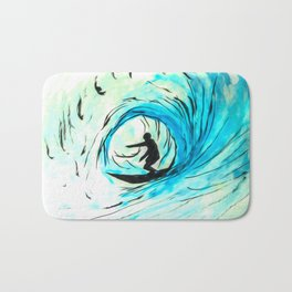 Lone Surfer Tubing the Big Blue Wave Bath Mat