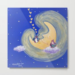 Friends of the Moon Penguins Violin Player and Book Lover Metal Print