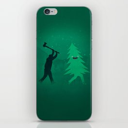 Funny Cartoon Christmas tree is chased by Lumberjack / Run Forrest, Run! iPhone Skin