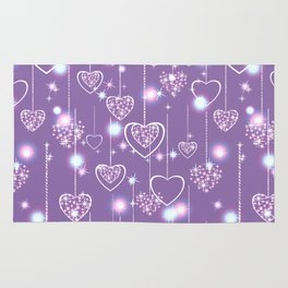 Bright openwork hearts on a lilac background. Rug