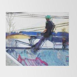Hanging On  -  Stunt Scooter Artwork Throw Blanket