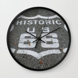 Route 66 sign on the road Wall Clock