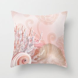 SEASHELL DREAMS | pink Throw Pillow