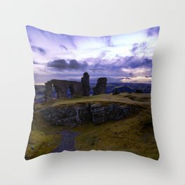 Crow Crag Castle at dusk Throw Pillow