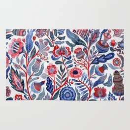 Botanical in red and blue Rug