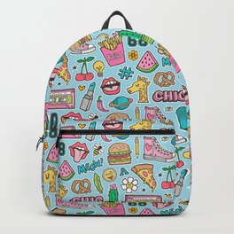 90's Vintage Patches Stickers Doodle on Blue Backpack