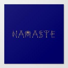 Namaste Sacret Geometry Letters Gold Canvas Print