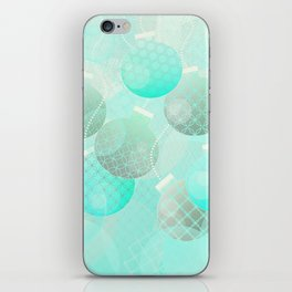 Silver and Mint Blue Christmas Ornaments iPhone Skin