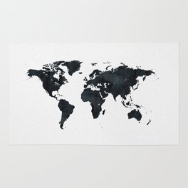World Map in Black and White Ink on Paper Rug