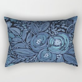 Watercolor .  Black and blue floral pattern . Rectangular Pillow
