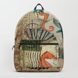french botanical art seahorse teal green starfish Backpack