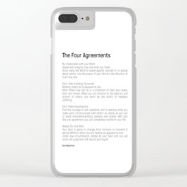The Four Agreements #blackwhite #minimalism Clear iPhone Case