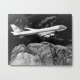 Air Force One flying over Mount Rushmore Metal Print