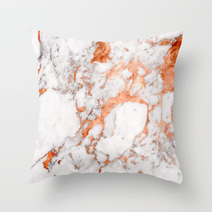 Copper Marble 2 Throw Pillow