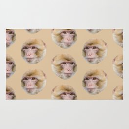 funny cute japanese macaque monkey pattern Rug