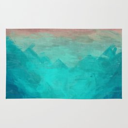 Sunset Over Lagoon Abstract Painting Rug