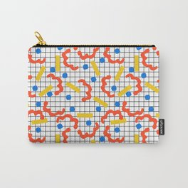 Primal - memphis throwback squiggle circle geometric grid lines dots trendy hipster 80s retro cool Carry-All Pouch