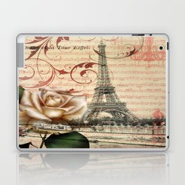 vintage chandelier white rose music notes Paris eiffel tower Laptop & iPad Skin