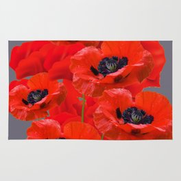 Poppy flowers rugs society6 montage of red oriental poppies grey color art rug mightylinksfo