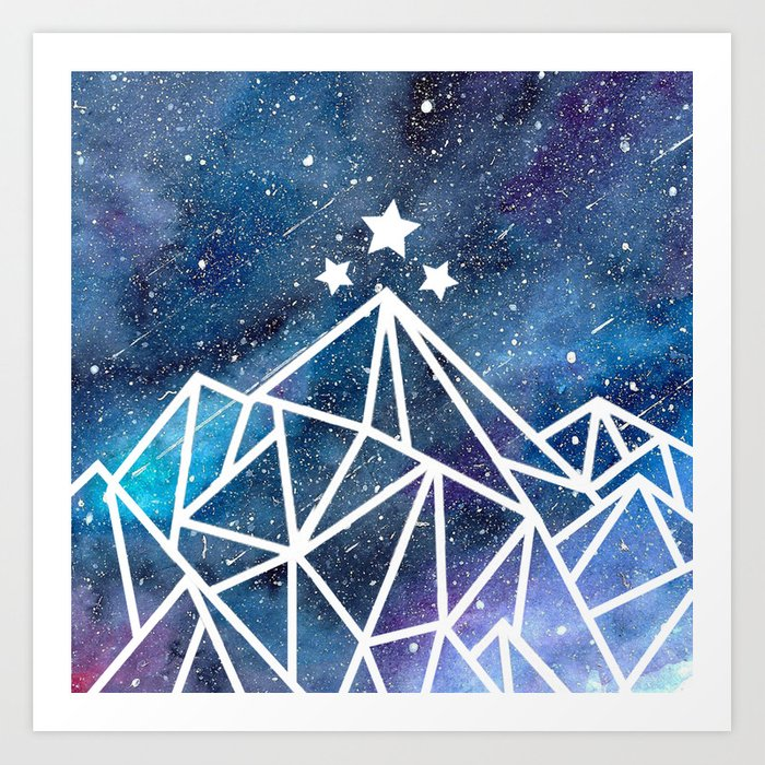 watercolor galaxy night court acotar inspired art print by