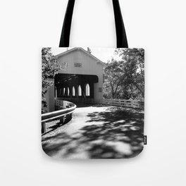 Covered Bridge in Black and White Tote Bag
