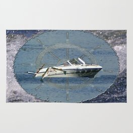 Nautical Boat Wheel Lake Waves Rug