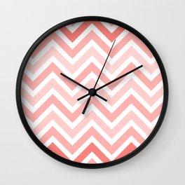 Geometrical mauve coral white modern chevron pattern Wall Clock