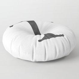 Letter T Initial Monogram Black and White Floor Pillow