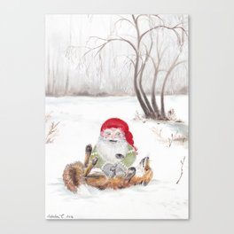 The gnome and his friend the fox - Christmas Canvas Print