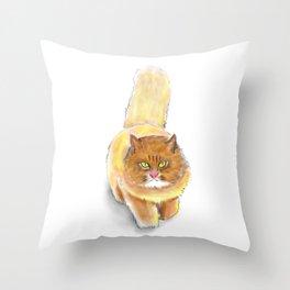 Battle Fat Cat Throw Pillow
